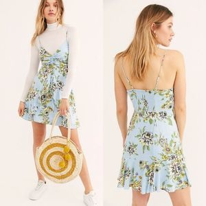Free People Happy Heart Ruched Mini Dress In Blue